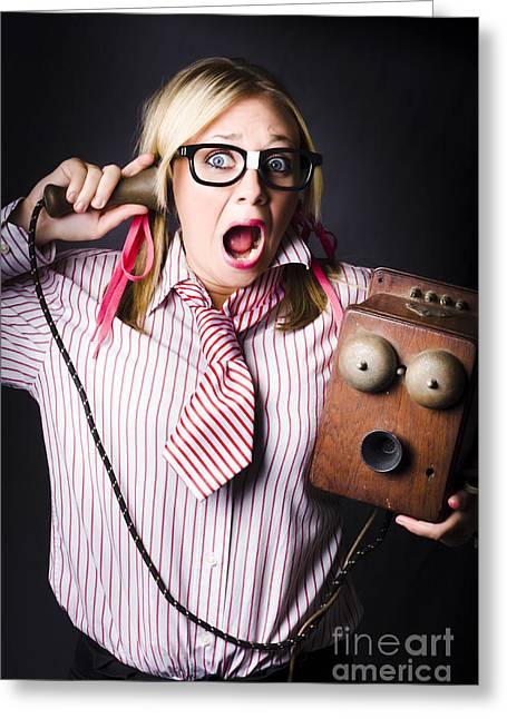 Worker In Shock During Bad News Communication Greeting Card by Jorgo Photography - Wall Art Gallery