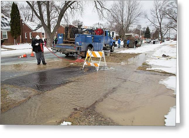 Worker Repairing Water Mains Greeting Card by Jim West