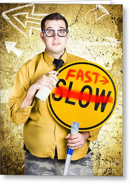 Worker Showing Sign To Fast Track Productivity Greeting Card