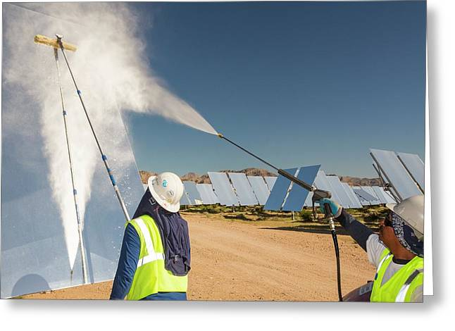 Workers Washing The Heliostats Greeting Card by Ashley Cooper