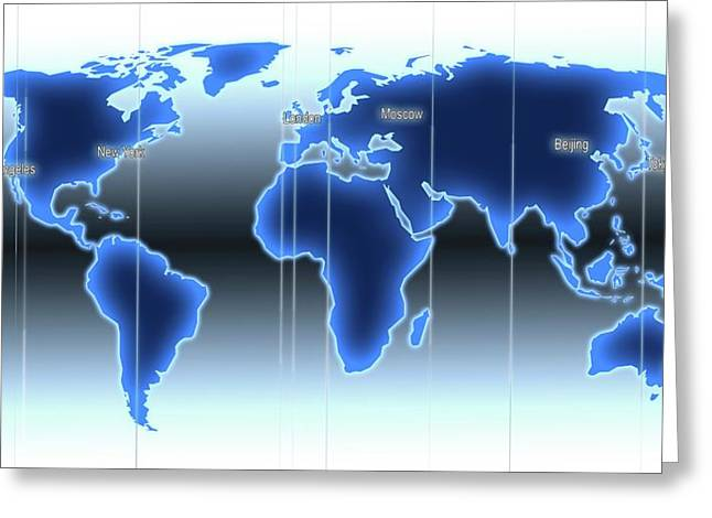 World Map Illustration With Time Zones Greeting Card