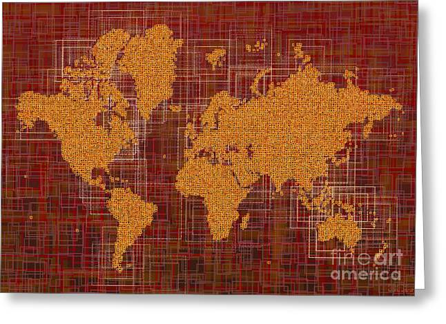 World Map Rettangoli In Orange Red And Brown Greeting Card by Eleven Corners