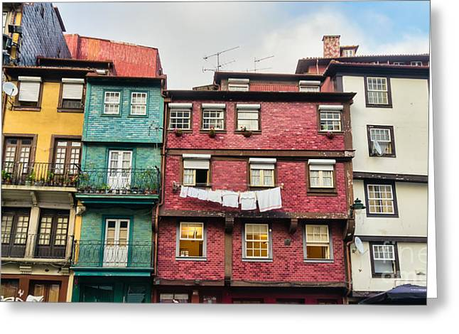 Worn Out Houses Porto Portugal Greeting Card by Frank Bach