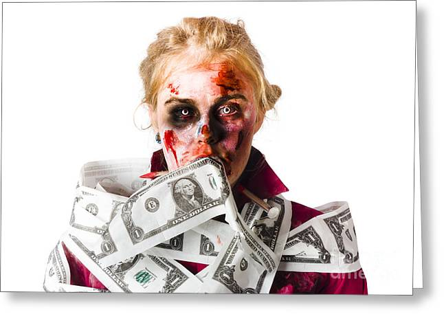 Worried Zombie With Dollar Bills Greeting Card by Jorgo Photography - Wall Art Gallery