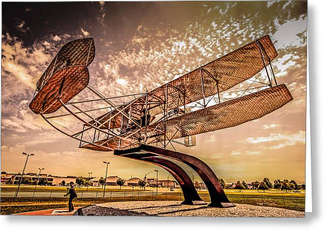 Wright Flyer At Sunset Greeting Card