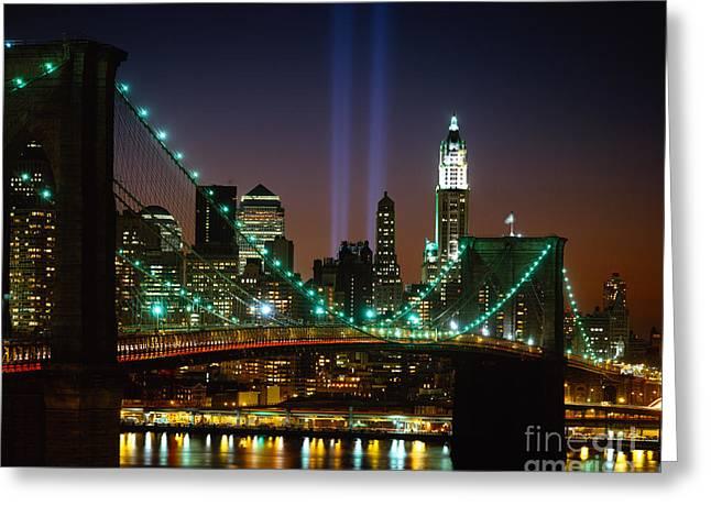 Wtc Tribute In Light Greeting Card by Rafael Macia