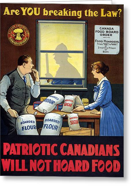Wwi Food Supply, C1915 Greeting Card by Granger