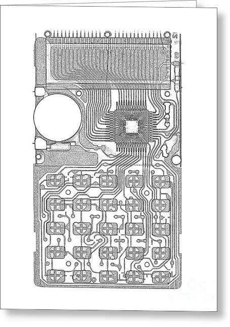 X-ray Of Calculator Greeting Card by Bert Myers
