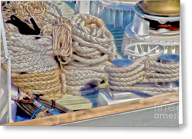 Yacht Ropes And Winches Greeting Card