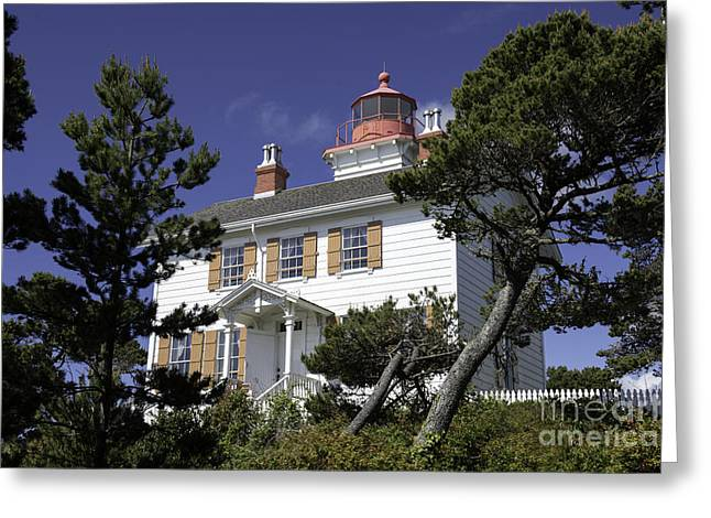 Yaquina Bay Lighthouse Greeting Card by Tim Moore