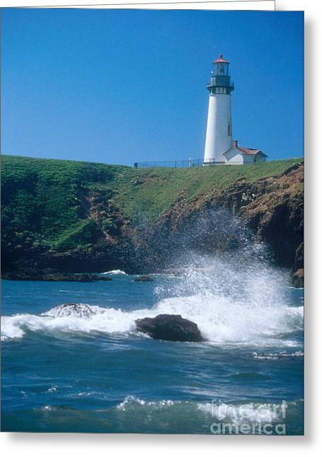 Yaquina Head Lighthouse Greeting Card by Bruce Roberts