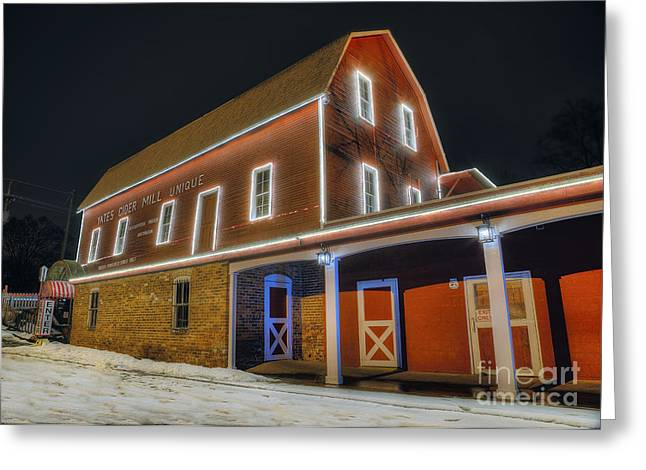 Yates Cider Mill At Christmas Greeting Card by Twenty Two North Photography