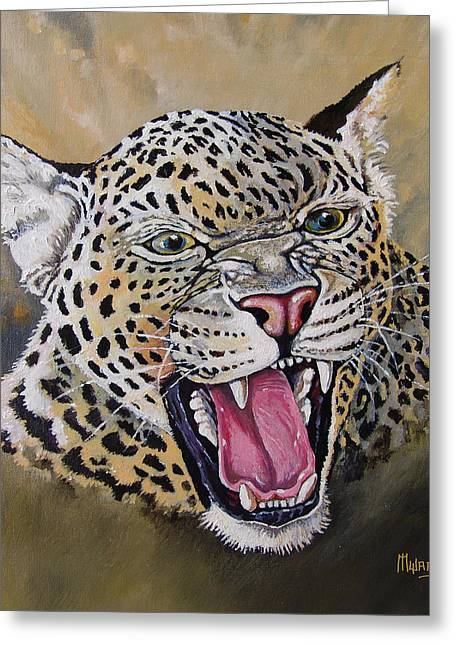 Greeting Card featuring the painting Yawn by Anthony Mwangi