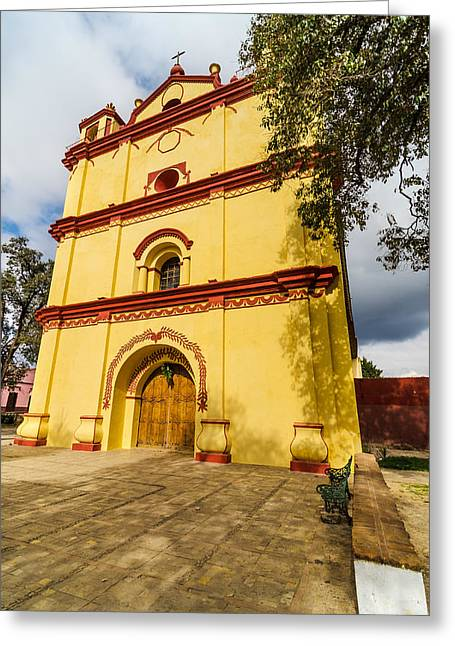 Yellow And Red Church Greeting Card