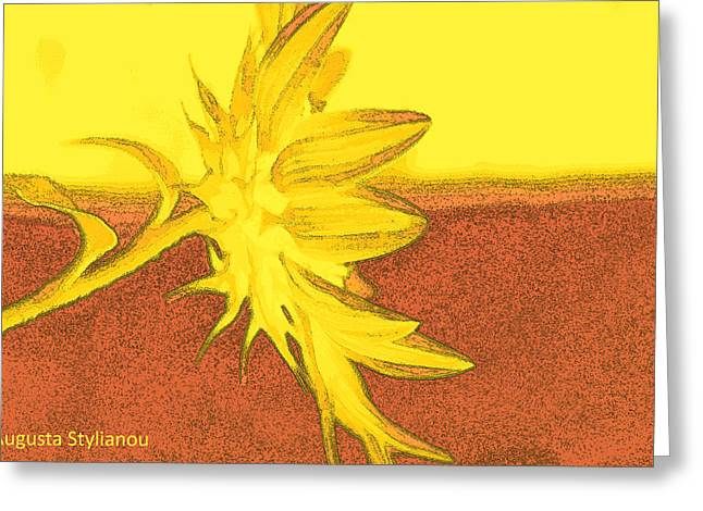 Yellow Flower Greeting Card by Augusta Stylianou