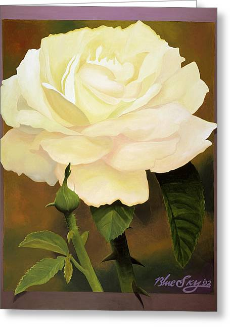 Yellow Rose Greeting Card by Blue Sky