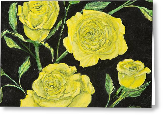 Greeting Card featuring the painting Yellow Roses by Cathy Long