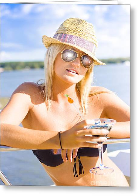 Young Attractive Female Holding Cocktail Drink Greeting Card by Jorgo Photography - Wall Art Gallery