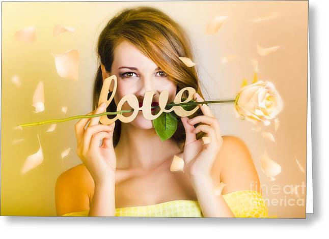 Young Beautiful Woman Expressing Feelings Of Love Greeting Card by Jorgo Photography - Wall Art Gallery