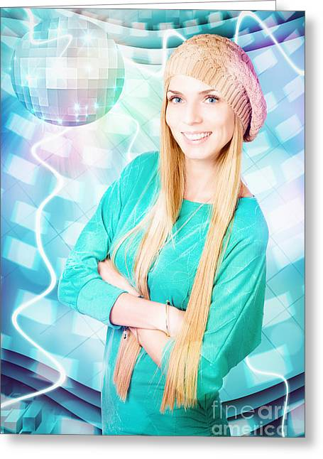 Young Blonde Party Woman At Winter Disco Event Greeting Card by Jorgo Photography - Wall Art Gallery