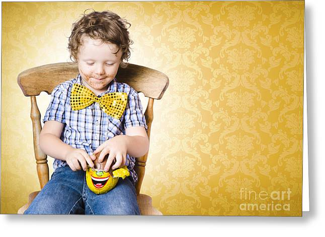 Young Boy Unwrapping Easter Egg Present Greeting Card by Jorgo Photography - Wall Art Gallery