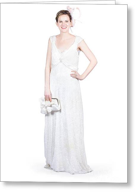 Young Bride In White Wedding Dress Greeting Card