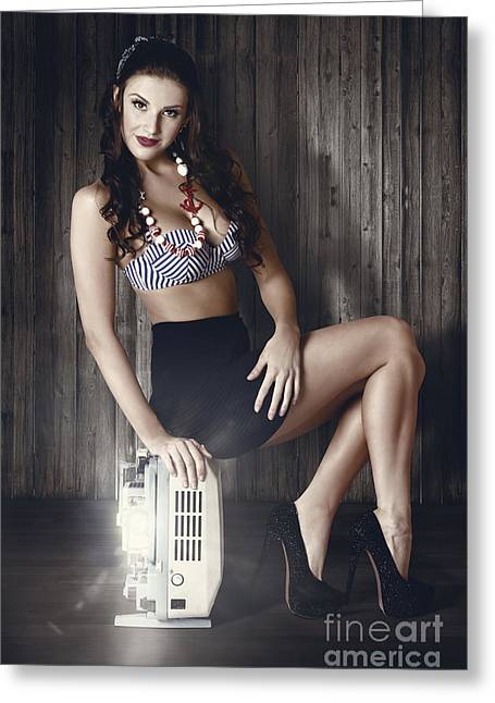 Young Brunette Pin-up Woman On Old Film Projector Greeting Card