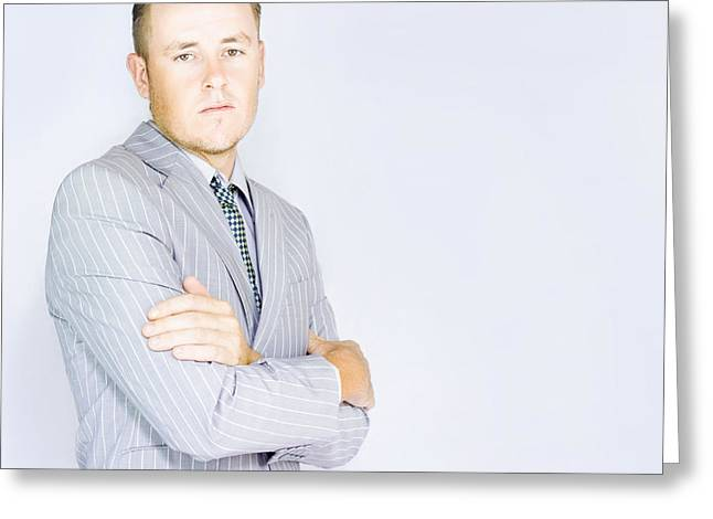 Young Business Man With Copyspace Greeting Card by Jorgo Photography - Wall Art Gallery