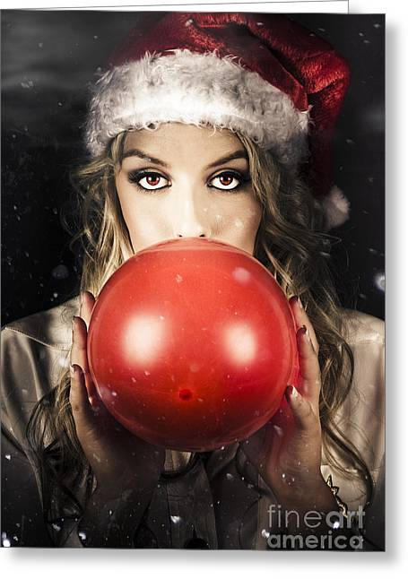 Young Christmas Girl Blowing Up Party Balloon Greeting Card by Jorgo Photography - Wall Art Gallery