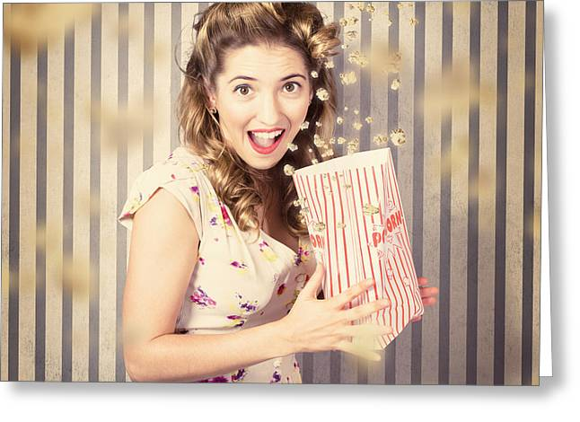 Young Girl At The Cinema Watching Halloween Movie Greeting Card