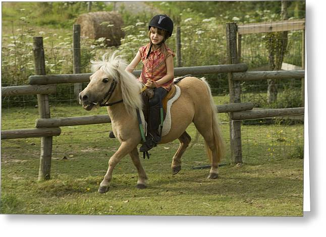 Young Girl Riding Shetland Pony Greeting Card by Jean-Michel Labat