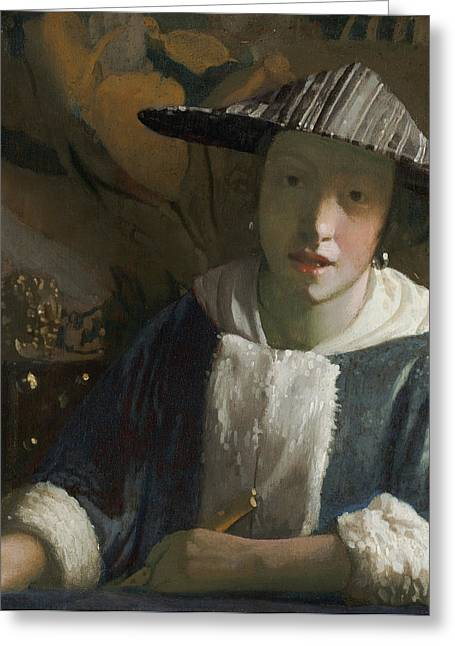 Young Girl With A Flute Greeting Card by Jan Vermeer