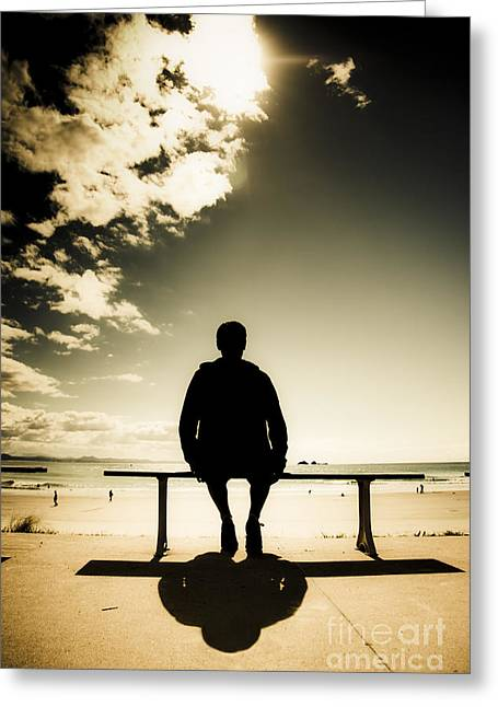 Young Man In Silhouette Sitting In The Sun Greeting Card by Jorgo Photography - Wall Art Gallery