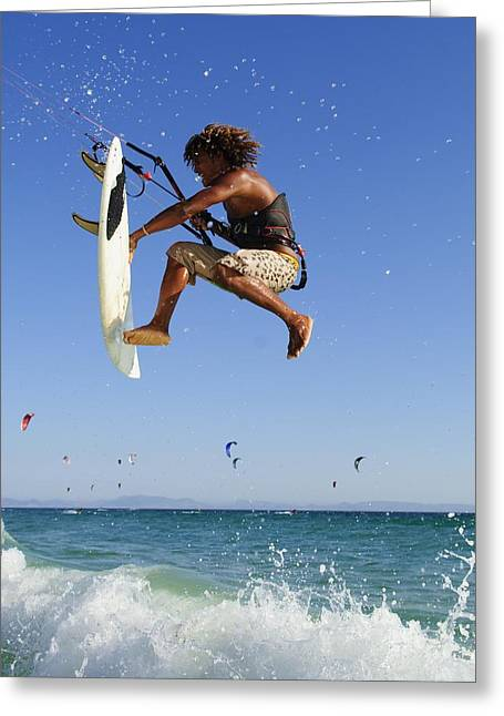 Young Man Kite Surfing Costa De La Greeting Card by Ben Welsh