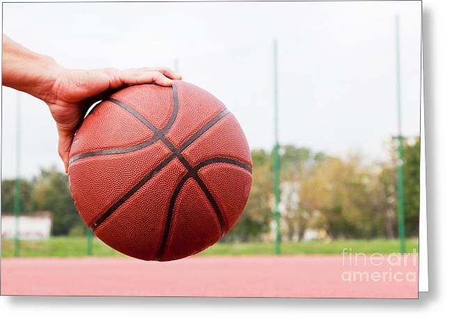 Young Man On Basketball Court. Greeting Card