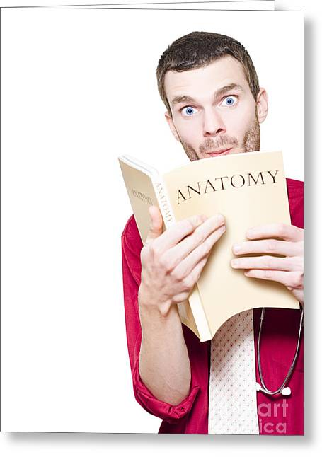 Young Medical Intern Student Studying Anatomy Book Greeting Card