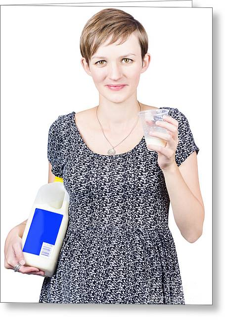 Young Pregnant Woman Drinking Fresh Milk Greeting Card