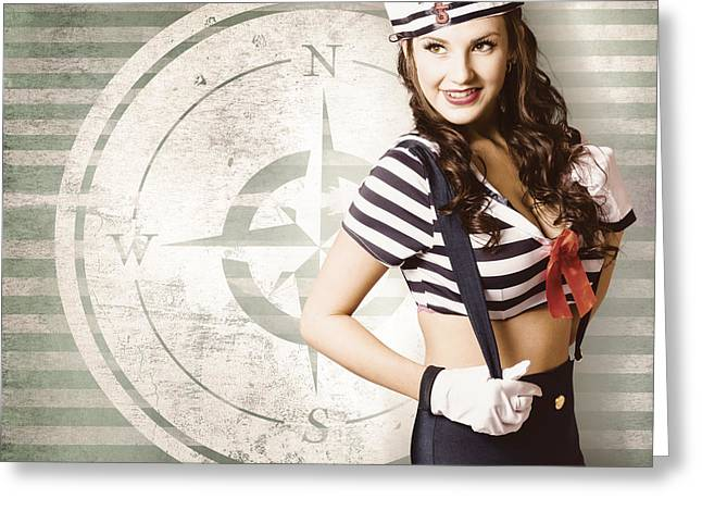 Young Sailor Pin Up Girl On Travel Cruise Compass Greeting Card by Jorgo Photography - Wall Art Gallery