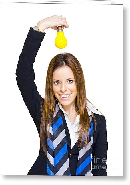 Young Smiling Business Woman With Creative Idea  Greeting Card