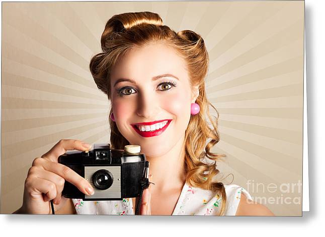 Young Smiling Vintage Girl Taking Photo Greeting Card