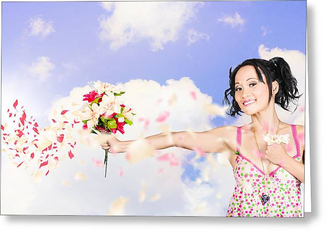 Young Woman Celebrating Valentines Day Love Greeting Card