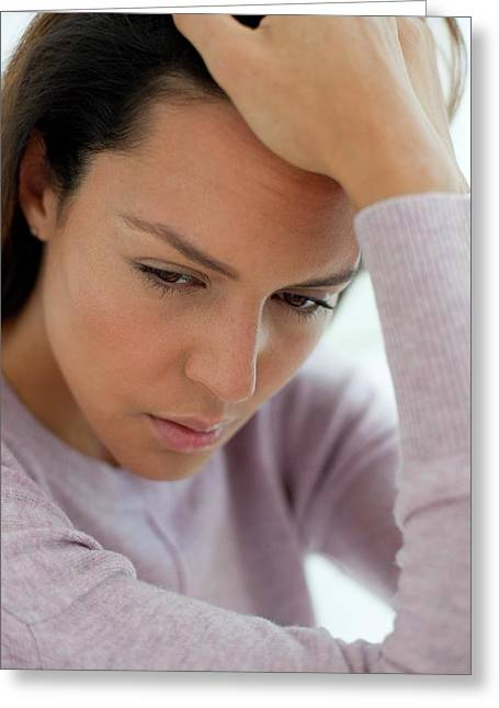 Young Woman Feeling Unwell Greeting Card by Science Photo Library