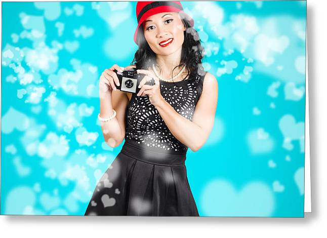 Young Woman Holding Retro Camera On Blue Greeting Card by Jorgo Photography - Wall Art Gallery