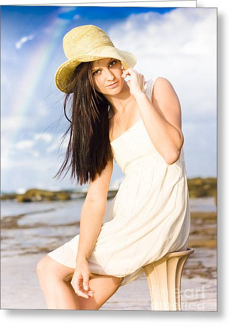 Young Woman Relaxing By The Sea Greeting Card by Jorgo Photography - Wall Art Gallery