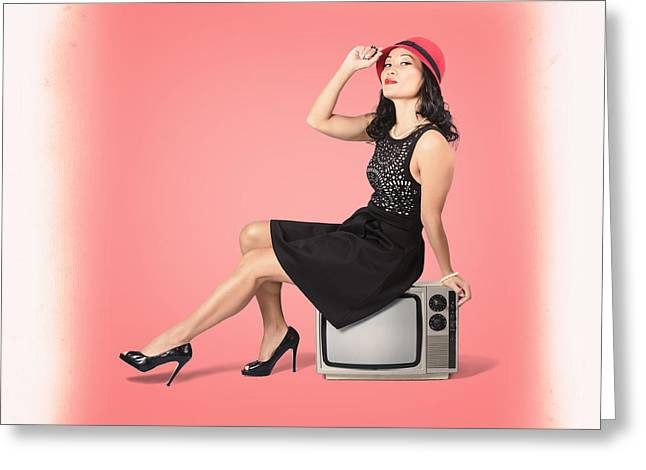 Young Woman Sitting On Old Tv Set Greeting Card
