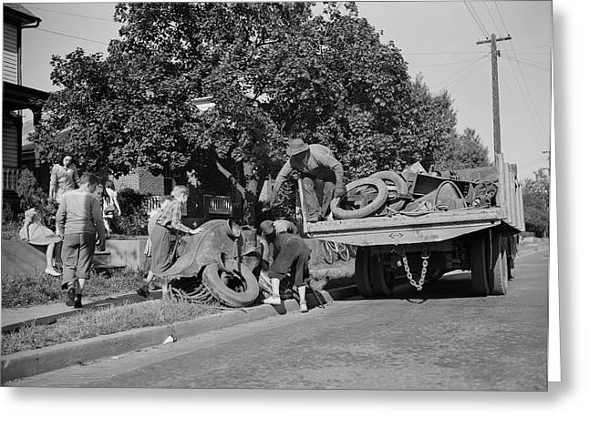 Youngsters Help Load A Truck With Scrap Greeting Card by Stocktrek Images