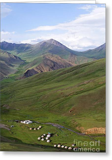 Yurts In The Tash Rabat Valley Of Kyrgyzstan  Greeting Card by Robert Preston