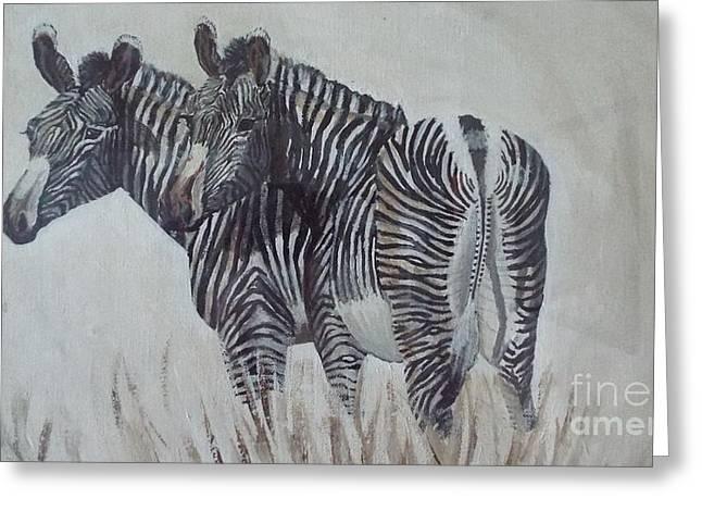 Zebras Greeting Card by Audrey Van Tassell