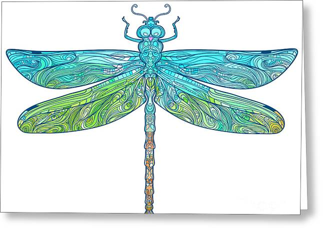 Zentangle Stylized Dragonfly. Ethnic Greeting Card
