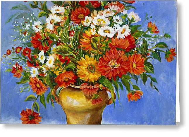 Zinnias Greeting Card by Alexandra Maria Ethlyn Cheshire